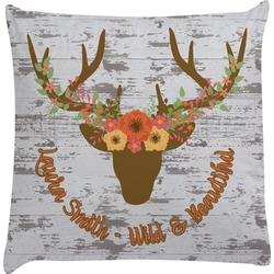 Floral Antler Decorative Pillow Case (Personalized)