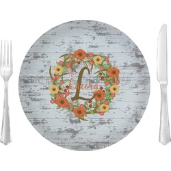 """Floral Antler 10"""" Glass Lunch / Dinner Plates - Single or Set (Personalized)"""
