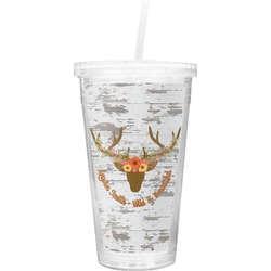 Floral Antler Double Wall Tumbler with Straw (Personalized)