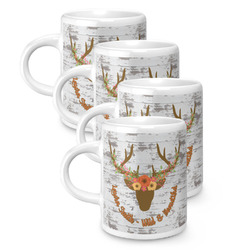Floral Antler Espresso Mugs - Set of 4 (Personalized)