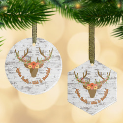 Floral Antler Flat Glass Ornament w/ Name or Text
