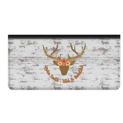 Floral Antler Genuine Leather Checkbook Cover (Personalized)