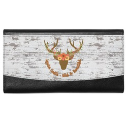 Floral Antler Genuine Leather Ladies Wallet (Personalized)