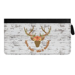 Floral Antler Genuine Leather Ladies Zippered Wallet (Personalized)