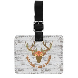 Floral Antler Genuine Leather Rectangular  Luggage Tag (Personalized)