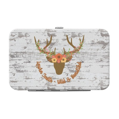 Floral Antler Genuine Leather Small Framed Wallet (Personalized)