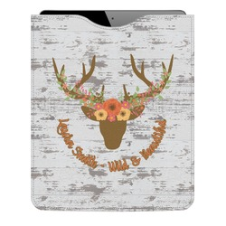 Floral Antler Genuine Leather iPad Sleeve (Personalized)