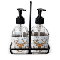 Floral Antler Soap & Lotion Dispenser Set (Glass) (Personalized)