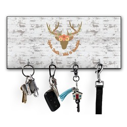Floral Antler Key Hanger w/ 4 Hooks (Personalized)
