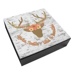 Floral Antler Leatherette Keepsake Box - 3 Sizes (Personalized)