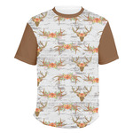 Floral Antler Men's Crew T-Shirt (Personalized)