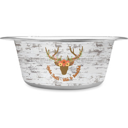 Floral Antler Stainless Steel Pet Bowl (Personalized)