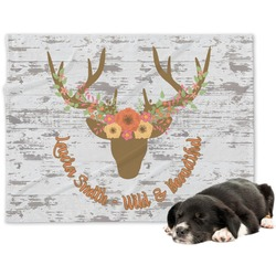 Floral Antler Minky Dog Blanket (Personalized)