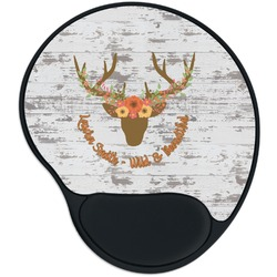Floral Antler Mouse Pad with Wrist Support