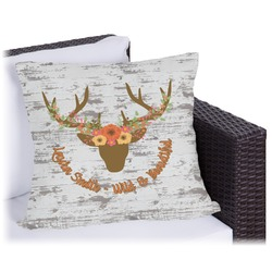 """Floral Antler Outdoor Pillow - 26"""" (Personalized)"""