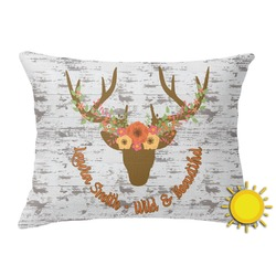 Floral Antler Outdoor Throw Pillow (Rectangular) (Personalized)
