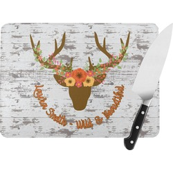 Floral Antler Rectangular Glass Cutting Board (Personalized)