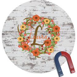Floral Antler Round Fridge Magnet (Personalized)