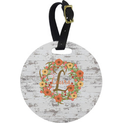 Floral Antler Round Luggage Tag (Personalized)