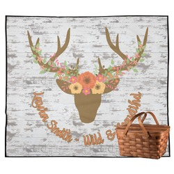 Floral Antler Outdoor Picnic Blanket (Personalized)