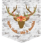 Floral Antler Iron On Faux Pocket (Personalized)