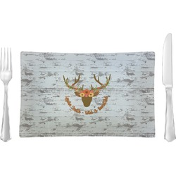 Floral Antler Glass Rectangular Lunch / Dinner Plate - Single or Set (Personalized)