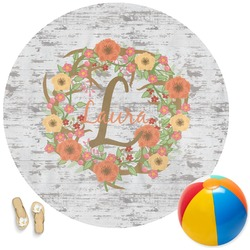 Floral Antler Round Beach Towel (Personalized)