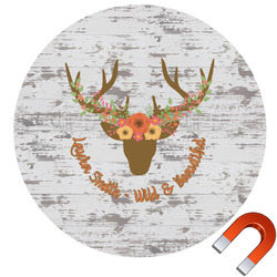Floral Antler Round Car Magnet (Personalized)