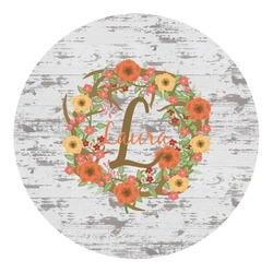 Floral Antler Round Decal - Medium (Personalized)