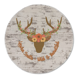 Floral Antler Round Linen Placemat (Personalized)