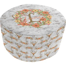 Floral Antler Round Pouf Ottoman (Personalized)