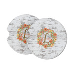 Floral Antler Sandstone Car Coasters (Personalized)