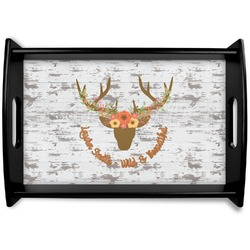 Floral Antler Black Wooden Tray (Personalized)