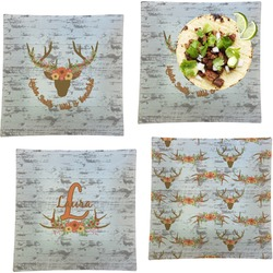"""Floral Antler Set of 4 Glass Square Lunch / Dinner Plate 9.5"""" (Personalized)"""
