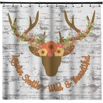 Floral Antler Shower Curtain (Personalized)