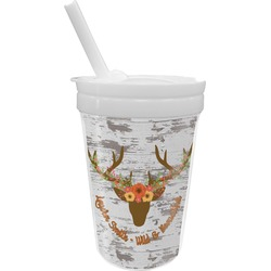 Floral Antler Sippy Cup with Straw (Personalized)