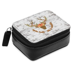 Floral Antler Small Leatherette Travel Pill Case (Personalized)