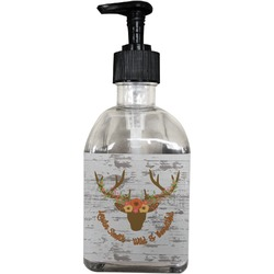 Floral Antler Soap/Lotion Dispenser (Glass) (Personalized)