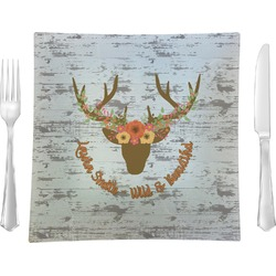 """Floral Antler Glass Square Lunch / Dinner Plate 9.5"""" - Single or Set of 4 (Personalized)"""