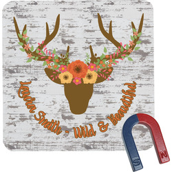 Floral Antler Square Fridge Magnet (Personalized)