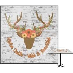 Floral Antler Square Table Top (Personalized)