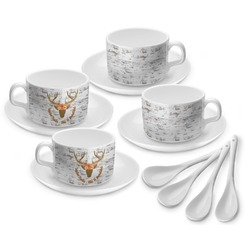 Floral Antler Tea Cup - Set of 4 (Personalized)