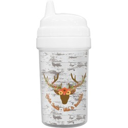 Floral Antler Toddler Sippy Cup (Personalized)