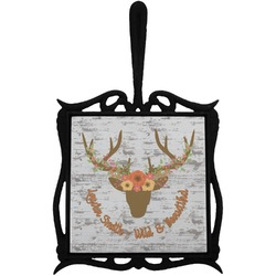 Floral Antler Trivet with Handle (Personalized)