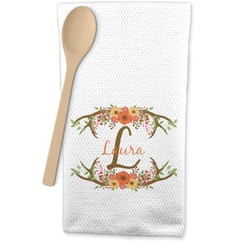 Floral Antler Waffle Weave Kitchen Towel (Personalized)