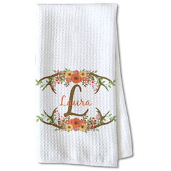 Floral Antler Waffle Weave Kitchen Towel - Partial Print (Personalized)