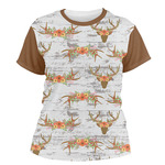 Floral Antler Women's Crew T-Shirt (Personalized)