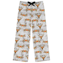 Floral Antler Womens Pajama Pants - XL (Personalized)
