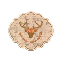 Floral Antler Genuine Maple or Cherry Wood Sticker (Personalized)