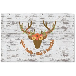 Floral Antler Woven Mat (Personalized)